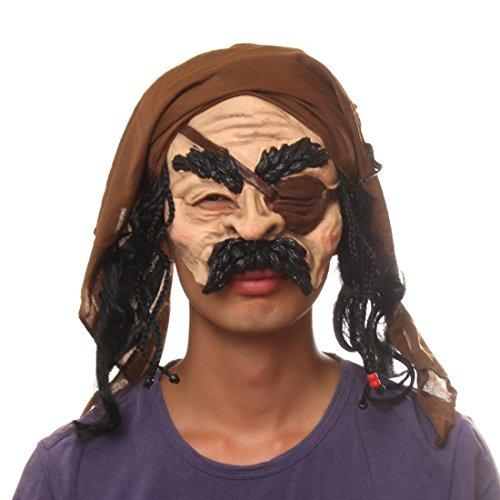 [Cosplay Halloween Horror grimace Pirate Chinless Vinyl Costume Mask] (Anonymous Man Costume)