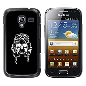 Shell-Star Arte & diseño plástico duro Fundas Cover Cubre Hard Case Cover para Samsung Galaxy Ace 2 I8160 / Ace2 II XS7560M ( Pilot Black Riding Bike Skull Death )