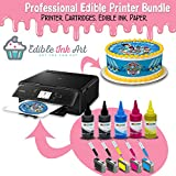 Edible Printer for cakes - Comes with Refillable Edible Ink Cartridges, 24 Frosting Sheets, 500ml Edible Ink and Cleaning Cartridges - Full Package