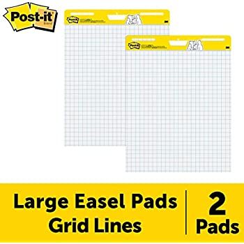 Post-it Super Sticky Easel Pad, 25 x 30 Inches, 30 Sheets/Pad, 2 Pads (560), Large White Grid Premium Self Stick Flip Chart Paper, Super Sticking Power