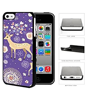 MMZ DIY PHONE CASEReindeer With Flower And Heart Horns Purple Hard Plastic Snap On Cell Phone Case Apple ipod touch 5
