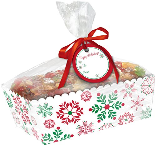 Creative Converting 2 Count Paper Loaf Pans with Cello Wrap, Snowflakes, Clear ()