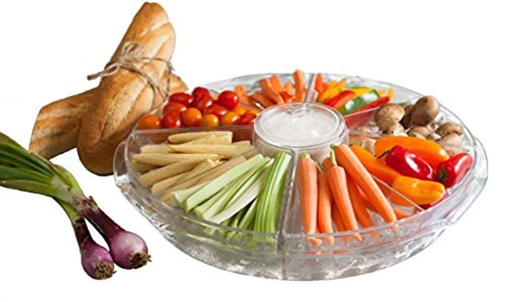 Appetizer Tray By ADORN, 8-Section Appetizers-on-Ice Platter Dish with Lids plus Dip Cup