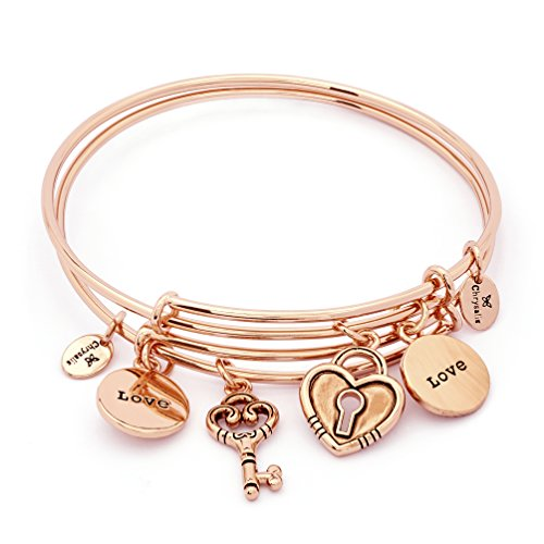 - Adjustable Double Key Heart Lock Love Message Charm Bangle Bracelets for Women, Set of 2, Rose Gold