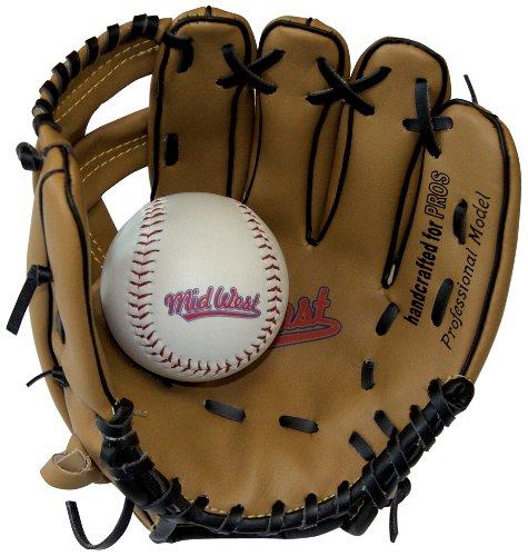 Midwest Kids Glove - Guante de béisbol infantil, tamaño 9 inch, color marrón/ negro