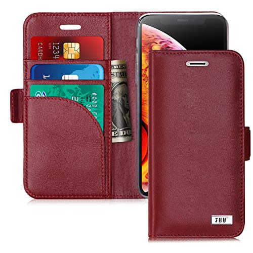 FYY [Genuine Leather] Wallet Case for iPhone Xs (5.8) 2018/iPhone X/10 2017, Handmade Flip Folio Wallet Case with Kickstand Card Slots Magnetic Closure for iPhone Xs (5.8) 2018/iPhone X/10 Wine Red