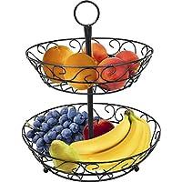 Soporte para cesta de frutas de mostrador Sorbus de 2 niveles y soporte para tazón decorativo: perfecto para frutas, verduras, bocadillos, artículos para el hogar y mucho más (negro)