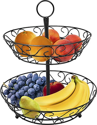 Sorbus 2-Tier Countertop Fruit Basket Holder & Decorative Bowl Stand-Perfect for Fruit, Vegetables, Snacks, Household Items, and Much More (Black)