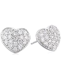 Sterling Silver Cubic Zirconia Pave Heart Stud Earrings (0.54 cttw)