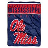 The Northwest Company Officially Licensed NCAA Mississippi Ole Miss Rebels Basic Plush Raschel Throw Blanket, 60' x 80', Multi Color