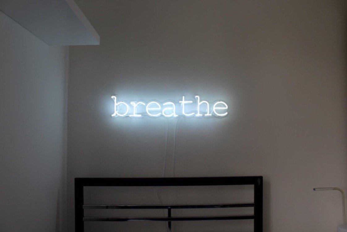 Breathe Real Glass Neon Sign For Bedroom Garage Bar Man Cave Room Home Decor Handmade Artwork Visual Art Dimmable Wall Lighting Includes Dimmer Artist Emily Ryder