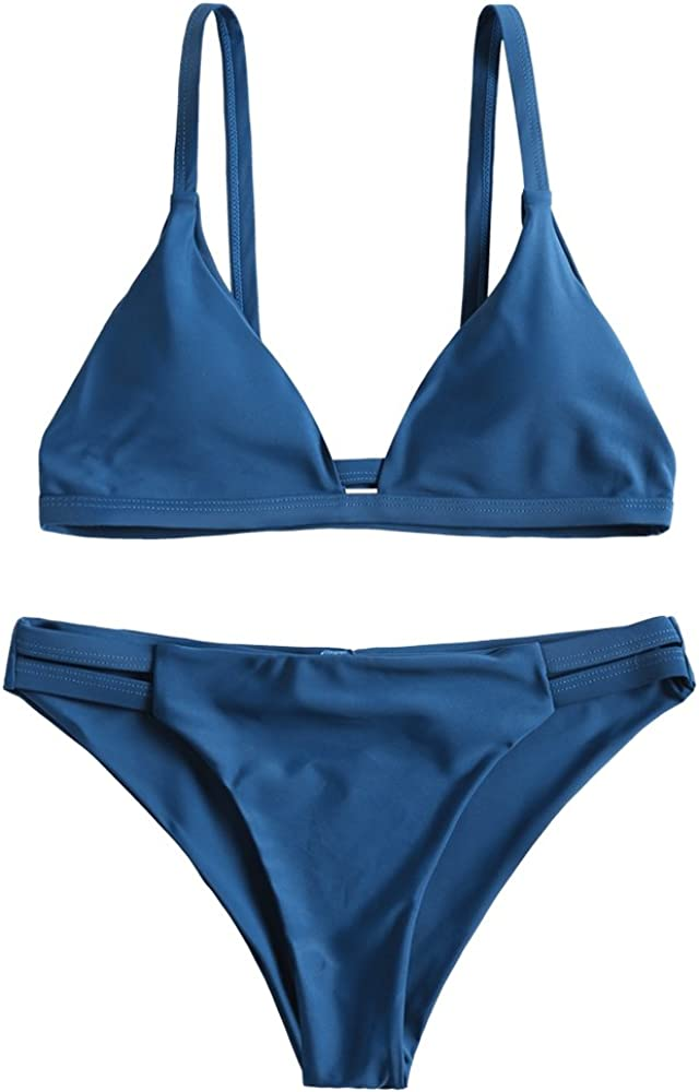 ZAFUL Women's Sexy Solid Color Spaghetti Straps Cami Ladder Cut Ruched Bathing Suit (Peacock Blue S)