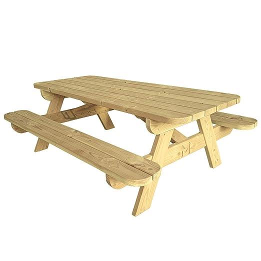 Mesa de picnic L para jardín, hecha de madera de abeto del norte ...