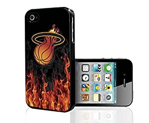 Miami Heat Basketball with Flames and Smoke on Black Background Hard Snap on Phone Case For Htc One M9 Cover