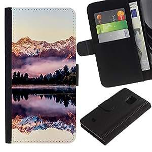 APlus Cases // Samsung Galaxy S5 Mini, SM-G800, NOT S5 REGULAR! // Lago Reflejo montañas nieve Ver // Cuero PU Delgado caso Billetera cubierta Shell Armor Funda Case Cover Wallet Credit Card
