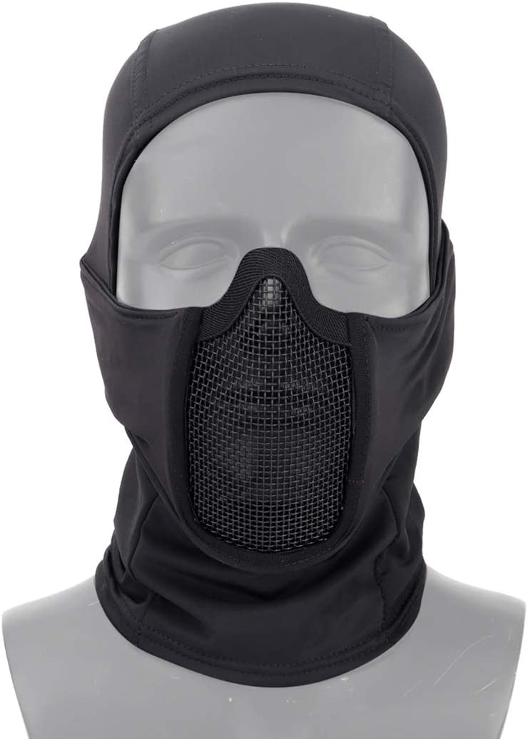 Aoutacc Pasamontañas Airsoft máscara de malla, estilo ninja protección completa de cara completa, pasamontañas con máscara de malla para juegos de guerra Cs, pistola BB, caza, paintball