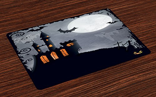 Lunarable Vintage Halloween Place Mats Set of 4, Halloween Themed Asymmetric Caste Scary Bats Ghosts Full Moon, Washable Fabric Placemats Dining Room Kitchen Table Decoration, Black Grey