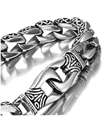 Amazing Stainless Steel Men's link Bracelet Silver Black...