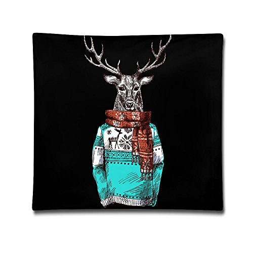 Kjaoi 1818 Inches Pillow Case Cool Deer Wear Scarf Comfortable Soft Bed Pillow Case Household Pillow Case Office Bolster ()