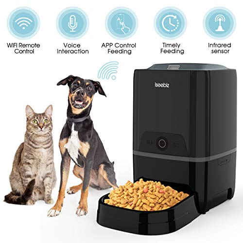 Iseebiz Automatic Cat Feeder 5L Smart Feeder Pet Food Dispenser App Control,Voice Recording,Timer Programmable, Portion Control, IR Detect, 8 Meals Per Day for Pet (Black Feeder with WiFi)