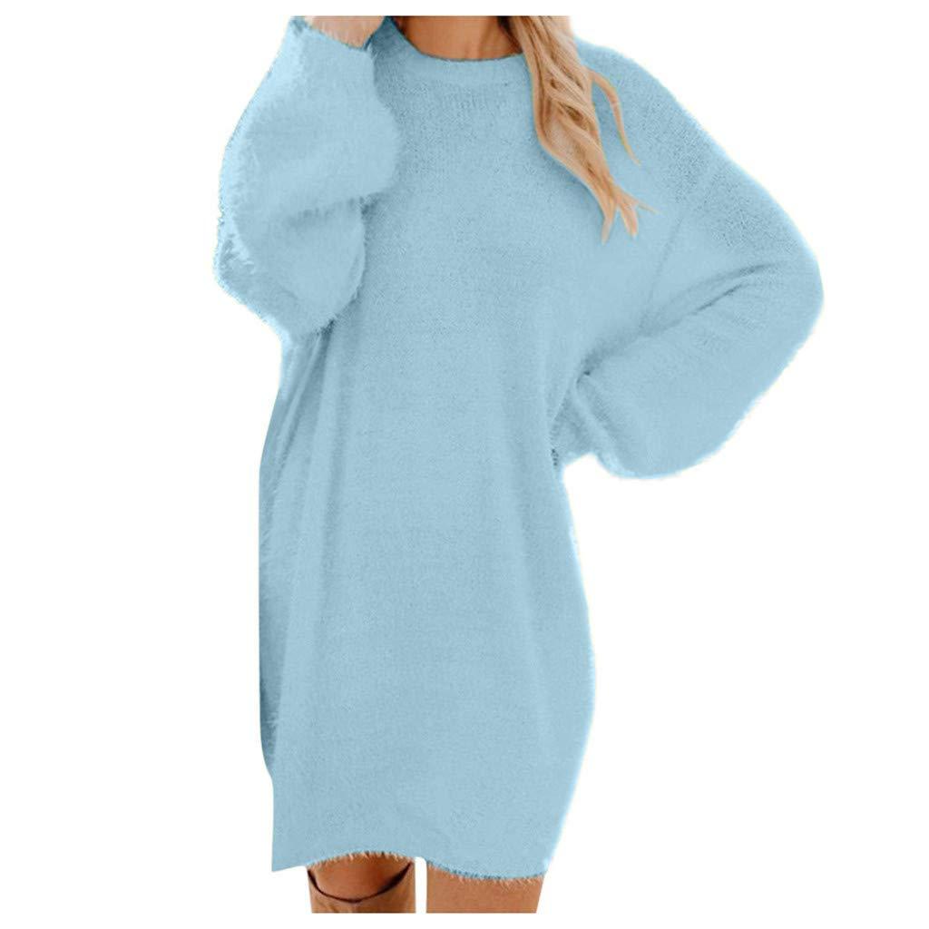 Ningsun Autunno Inverno Donne Vestito in Maglia Rotondo Collo Manica Lunga Pullover Jumper Maglione Felpa Mini Maglina Abito