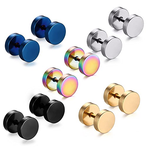 Feramox Stainless Steel Mens Womens Stud Earrings Set Ear Piercing Plugs Tunnel Punk Style(7MM) ()