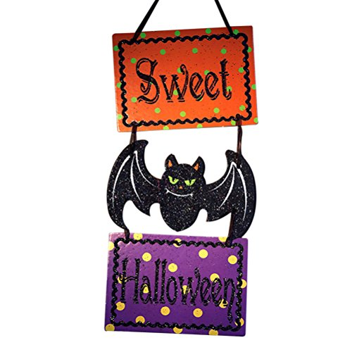 Tinksky Halloween Hanging Tag with Sweet Halloween Sign and Bat Decoration for Bar Shopping Malls Company Halloween Decorations