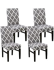 Kivors Chair Covers Universal Removable Washable Stretch Slipcovers Chairs 4/6 Pieces Chair Protective Cover Chair Covers for Dining Room, Hotel, Banquet, Ceremony (4 PCS/Packet, Geometry,Gray)