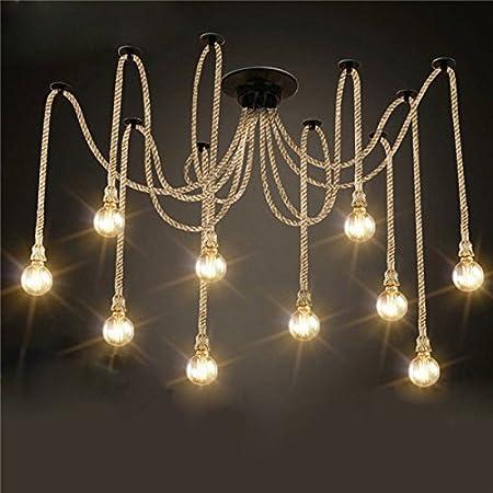 MASUNN E27 12 Cabezas Arañas Industriales Lámparas Colgantes ...