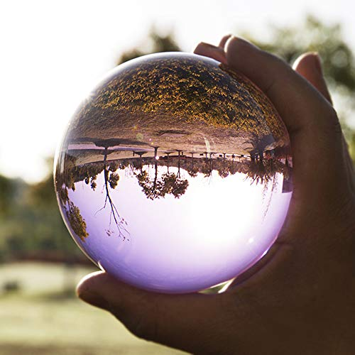 (KEENICI 60mm Photograph Crystal Ball with Stand 3D Laser Engraved Quartz Glass Ball Sphere Home Decoration Accessories Gifts (Purple Crystal Ball with Base))