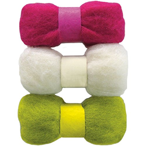 Dimensions Feltworks Roving Trio Pack, 1.58-Ounce, Fuchsia, Lime and White
