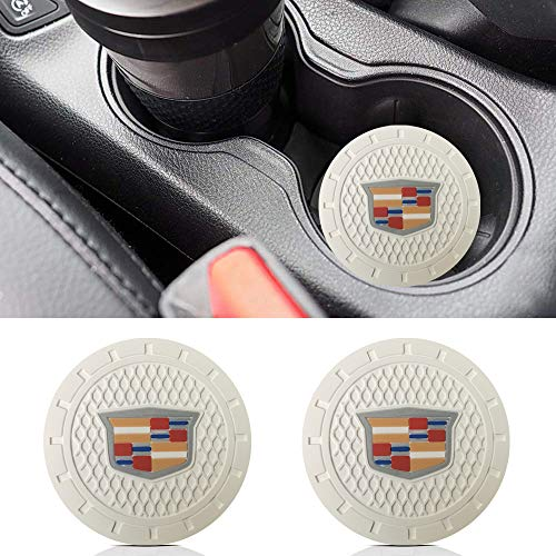 Auto sport 2.75 Inch Diameter Oval Tough Car Logo Vehicle Travel Auto Cup Holder Insert Coaster Can 2 Pcs Pack (White) Fit Cadillac Accessory