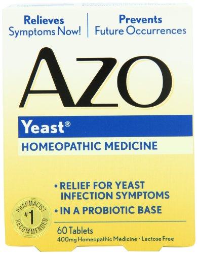 AZO levure naturelle Symptôme Prévention et secours. , Sans lactose, 60 Tablet Box