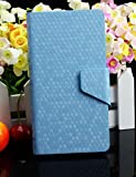 Diamond Veins Luxury PU Leather Flip Stand With Card Slot Wallet Case Cover For Vodafone Smart 4 Mini (Sky Blue)