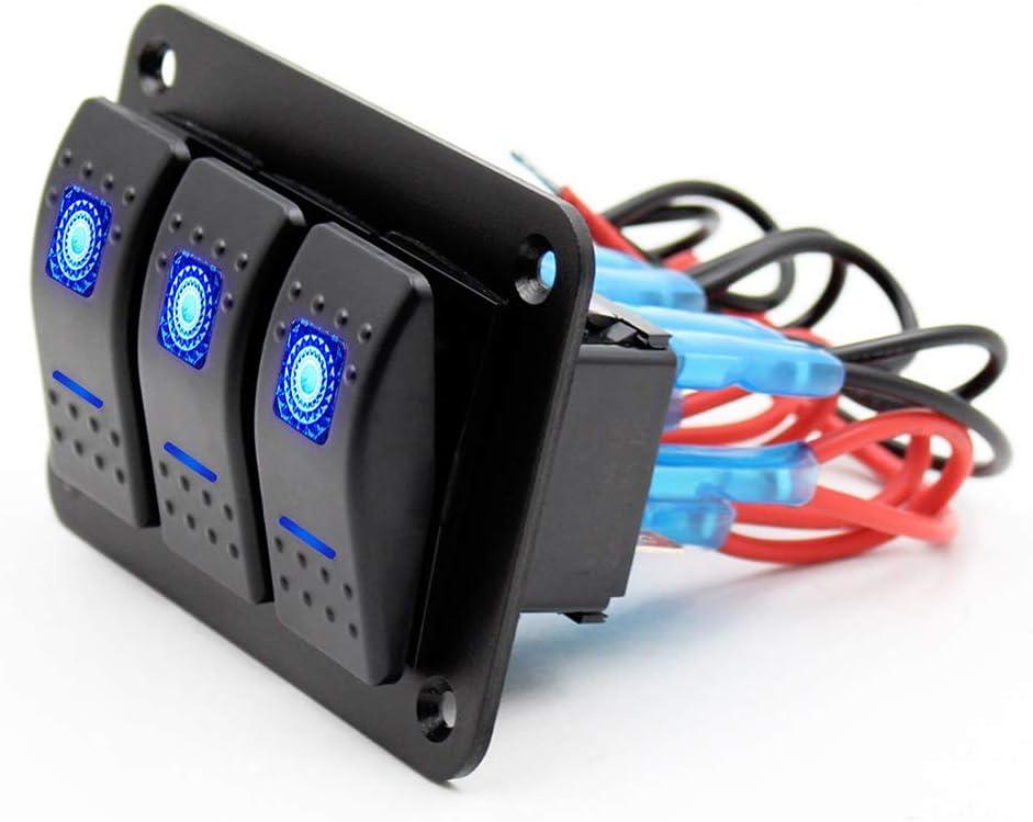 CT-CARID Interrupteur 3 interrupteurs 12 V universel en aluminium pour tableau de bord 5 broches on//off 2 LED r/étro/éclair/é pour bateau marine voiture