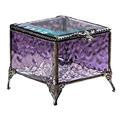 J Devlin 3x3 Stained Glass Keepsake Decorative Trinket Jewelry Box Gift