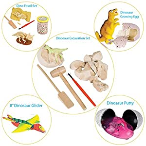 Discover the Dinosaur by ArtCreativityTM - 5 Fun Prehistoric Projects - Includes Excavation Kit, Dig Set, Growing Egg, Dino Glider, & Fossil Putty - Educational Toys for Kids