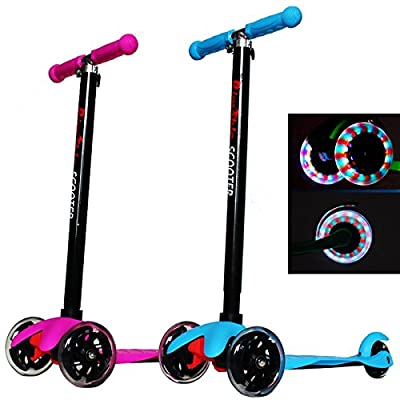 Rimable Kids 3 Wheel Adjustable Height Mini Kick Scooter with LED Light Up Wheels by Rm