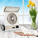 Besde Solar Power Fan Rechargeable Multi-function LED Light Table Lamp Flashlight (A, Gold)