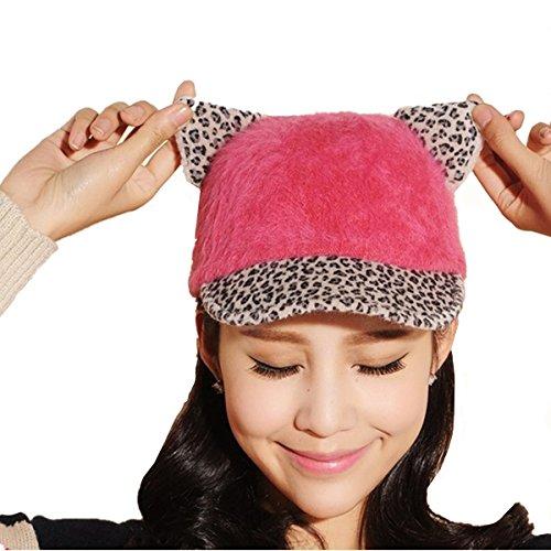 Leopard Print Cute Devil Horn Cat Ear Snap Back Adjustable Baseball Cap Hat Pink Rose