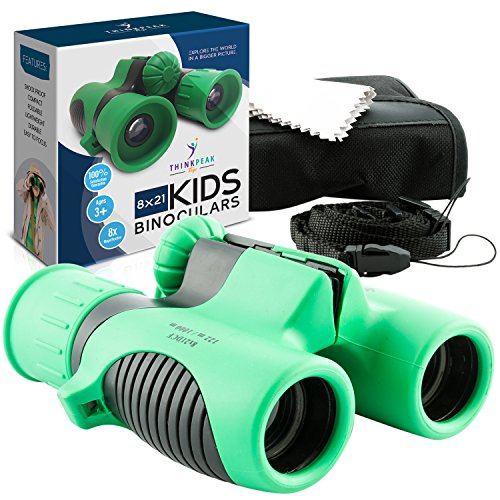 THINKPEAK TOYS Binoculars for Kids High Resolution 8x21 - Best Compact Binocular Set for Bird Watching, Hiking, Outdoor Games, Camping, Backyard Safari, Learning, Outside Play, Boys and Girls Gifts