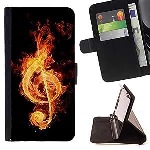 For Samsung Galaxy A3 - Fire music notation /Funda de piel cubierta de la carpeta Foilo con cierre magn???¡¯????tico/ - Super Marley Shop -