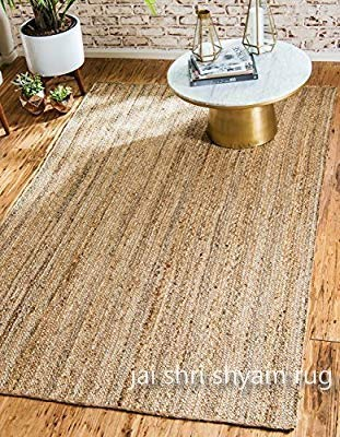 Jai Shri Shyam,Natural Jute Braided Area Rug/Carpet/Handmade Floor Rug 3×5 ft