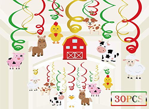 30PCS Farm Animal Party Supplies Hanging Swirls - Barnyard Theme Birthday/Baby Shower Decorations Ceiling Decor