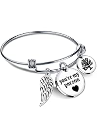 Bracelets for Women BFF Bangle You are my person Wing Pearls Pendant Best Friends Gift Stainless Steel