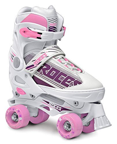 (Roces 550047 Women's Model Quaddy 1.0 Roller Skate, US 2.5-4.5, White/Pink)