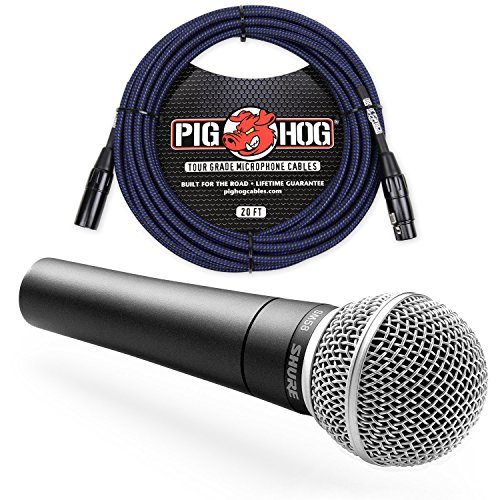 Shure SM58 Cardioid Vocal Microphone & Pig Hog Mic Cable, 20ft XLR - Bundle (Blue) by Shure