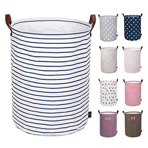 DOKEHOM 19-Inches Thickened Large Laundry Basket -(9 Colors) with Durable Leather Handle, Drawstring Waterproof Round Cotton Linen Collapsible Storage Basket (Blue Strips, L) (Washing Wicker Baskets)