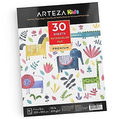 """Arteza Kids 9X12"""" Watercolor Pad 135lb/200g, 30 Sheets"""