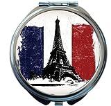 Rikki Knight Eiffel Tower over French Flag Grunge Effect Design Round Compact Mirror